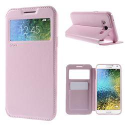 Roar Korea Noble View Leather Flip Cover for Samsung Galaxy E7 E700 E700H E7009 E7000 - Pink