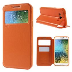 Roar Korea Noble View Leather Flip Cover for Samsung Galaxy E7 E700 E700H E7009 E7000 - Orange