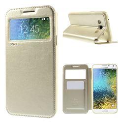 Roar Korea Noble View Leather Flip Cover for Samsung Galaxy E7 E700 E700H E7009 E7000 - Champagne