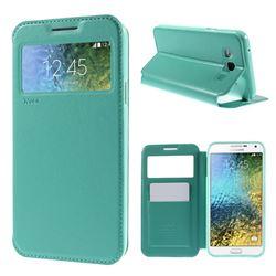 Roar Korea Noble View Leather Flip Cover for Samsung Galaxy E7 E700 E700H E7009 E7000 - Cyan