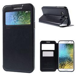 Roar Korea Noble View Leather Flip Cover for Samsung Galaxy E7 E700 E700H E7009 E7000 - Dark Blue