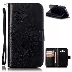 Embossing Butterfly Flower Leather Wallet Case for Samsung Galaxy J1 J100F J100H J100M - Black
