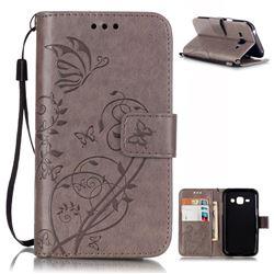 Embossing Butterfly Flower Leather Wallet Case for Samsung Galaxy J1 J100F J100H J100M - Grey