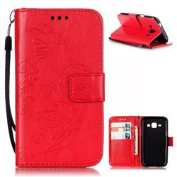 Embossing Butterfly Flower Leather Wallet Case for Samsung Galaxy J1 J100F J100H J100M - Red