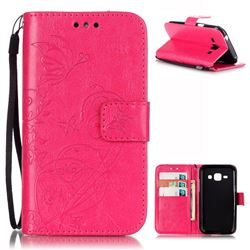 Embossing Butterfly Flower Leather Wallet Case for Samsung Galaxy J1 J100F J100H J100M - Rose
