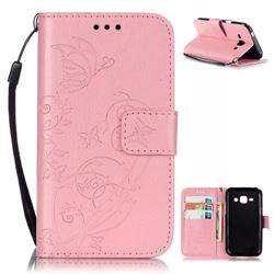 Embossing Butterfly Flower Leather Wallet Case for Samsung Galaxy J1 J100F J100H J100M - Pink