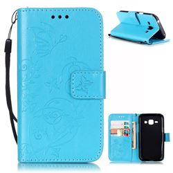 Embossing Butterfly Flower Leather Wallet Case for Samsung Galaxy J1 J100F J100H J100M - Blue