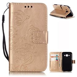 Embossing Butterfly Flower Leather Wallet Case for Samsung Galaxy J1 J100F J100H J100M - Champagne