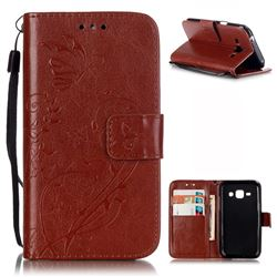 Embossing Butterfly Flower Leather Wallet Case for Samsung Galaxy J1 J100F J100H J100M - Brown