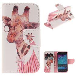 Pink Giraffe PU Leather Wallet Case for Samsung Galaxy J1 2015 J100