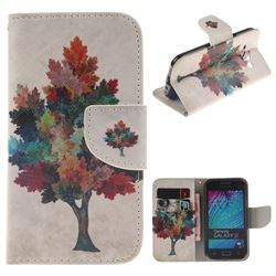 Colored Tree PU Leather Wallet Case for Samsung Galaxy J1 2015 J100