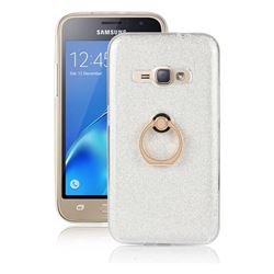 Luxury Soft TPU Glitter Back Ring Cover with 360 Rotate Finger Holder Buckle for Samsung Galaxy J1 2016 J120 - White