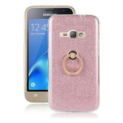 Luxury Soft TPU Glitter Back Ring Cover with 360 Rotate Finger Holder Buckle for Samsung Galaxy J1 2016 J120 - Pink