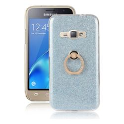 Luxury Soft TPU Glitter Back Ring Cover with 360 Rotate Finger Holder Buckle for Samsung Galaxy J1 2016 J120 - Blue