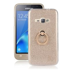 Luxury Soft TPU Glitter Back Ring Cover with 360 Rotate Finger Holder Buckle for Samsung Galaxy J1 2016 J120 - Golden