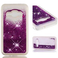 Dynamic Liquid Glitter Quicksand Sequins TPU Phone Case for Samsung Galaxy J1 2016 J120 - Purple