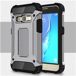 King Kong Armor Premium Shockproof Dual Layer Rugged Hard Cover for Samsung Galaxy J1 2016 J120 - Silver Grey