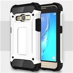 King Kong Armor Premium Shockproof Dual Layer Rugged Hard Cover for Samsung Galaxy J1 2016 J120 - White