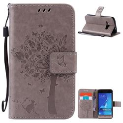 Embossing Butterfly Tree Leather Wallet Case for Samsung Galaxy J1 2016 J120F J120H J120M J120T J120A - Grey
