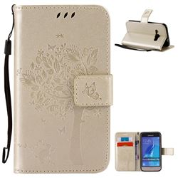 Embossing Butterfly Tree Leather Wallet Case for Samsung Galaxy J1 2016 J120F J120H J120M J120T J120A - Champagne