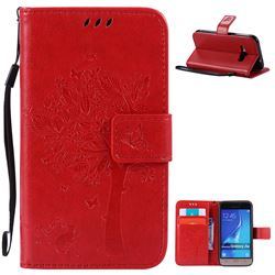 Embossing Butterfly Tree Leather Wallet Case for Samsung Galaxy J1 2016 J120F J120H J120M J120T J120A - Red