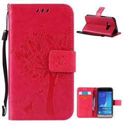 Embossing Butterfly Tree Leather Wallet Case for Samsung Galaxy J1 2016 J120F J120H J120M J120T J120A - Rose