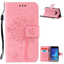 Embossing Butterfly Tree Leather Wallet Case for Samsung Galaxy J1 2016 J120F J120H J120M J120T J120A - Pink