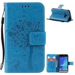 Embossing Butterfly Tree Leather Wallet Case for Samsung Galaxy J1 2016 J120F J120H J120M J120T J120A - Blue