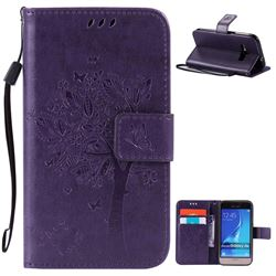 Embossing Butterfly Tree Leather Wallet Case for Samsung Galaxy J1 2016 J120F J120H J120M J120T J120A - Purple