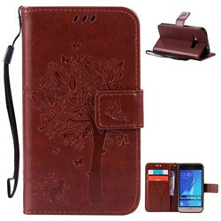 Embossing Butterfly Tree Leather Wallet Case for Samsung Galaxy J1 2016 J120F J120H J120M J120T J120A - Brown