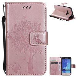 Embossing Butterfly Tree Leather Wallet Case for Samsung Galaxy J1 2016 J120 - Rose Pink