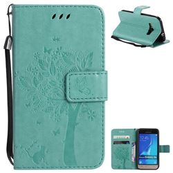 Embossing Butterfly Tree Leather Wallet Case for Samsung Galaxy J1 2016 J120 - Cyan
