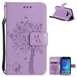 Embossing Butterfly Tree Leather Wallet Case for Samsung Galaxy J1 2016 J120 - Violet