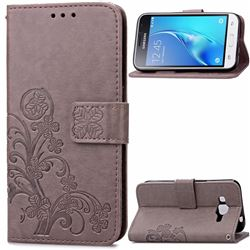 Embossing Imprint Four-Leaf Clover Leather Wallet Case for Samsung Galaxy J1 2016 J120 - Gray