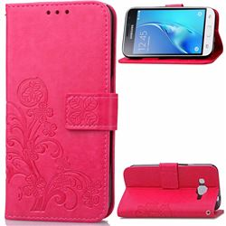 Embossing Imprint Four-Leaf Clover Leather Wallet Case for Samsung Galaxy J1 2016 J120 - Rose