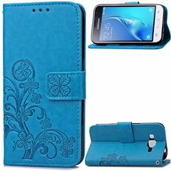 Embossing Imprint Four-Leaf Clover Leather Wallet Case for Samsung Galaxy J1 2016 J120 - Blue