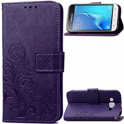 Embossing Imprint Four-Leaf Clover Leather Wallet Case for Samsung Galaxy J1 2016 J120 - Purple