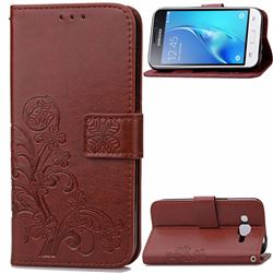 Embossing Imprint Four-Leaf Clover Leather Wallet Case for Samsung Galaxy J1 2016 J120 - Brown