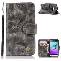 Luxury Retro Leather Wallet Case for Samsung Galaxy J1 2016 J120 - Gray