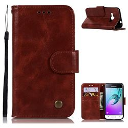 Luxury Retro Leather Wallet Case for Samsung Galaxy J1 2016 J120 - Wine Red