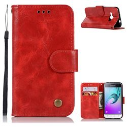Luxury Retro Leather Wallet Case for Samsung Galaxy J1 2016 J120 - Red