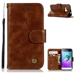 Luxury Retro Leather Wallet Case for Samsung Galaxy J1 2016 J120 - Brown