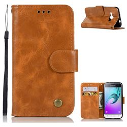 Luxury Retro Leather Wallet Case for Samsung Galaxy J1 2016 J120 - Golden