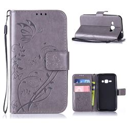 Embossing Butterfly Flower Leather Wallet Case for Samsung Galaxy J1 2016 J120 - Grey