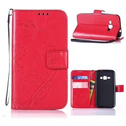Embossing Butterfly Flower Leather Wallet Case for Samsung Galaxy J1 2016 J120 - Red