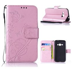 Embossing Butterfly Flower Leather Wallet Case for Samsung Galaxy J1 2016 J120 - Pink