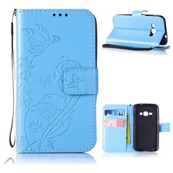 Embossing Butterfly Flower Leather Wallet Case for Samsung Galaxy J1 2016 J120 - Blue