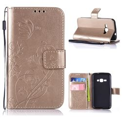 Embossing Butterfly Flower Leather Wallet Case for Samsung Galaxy J1 2016 J120 - Champagne