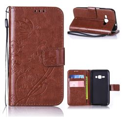 Embossing Butterfly Flower Leather Wallet Case for Samsung Galaxy J1 2016 J120 - Brown