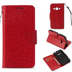 Retro Phantom Smooth PU Leather Wallet Holster Case for Samsung Galaxy J1 2016 J120 - Red